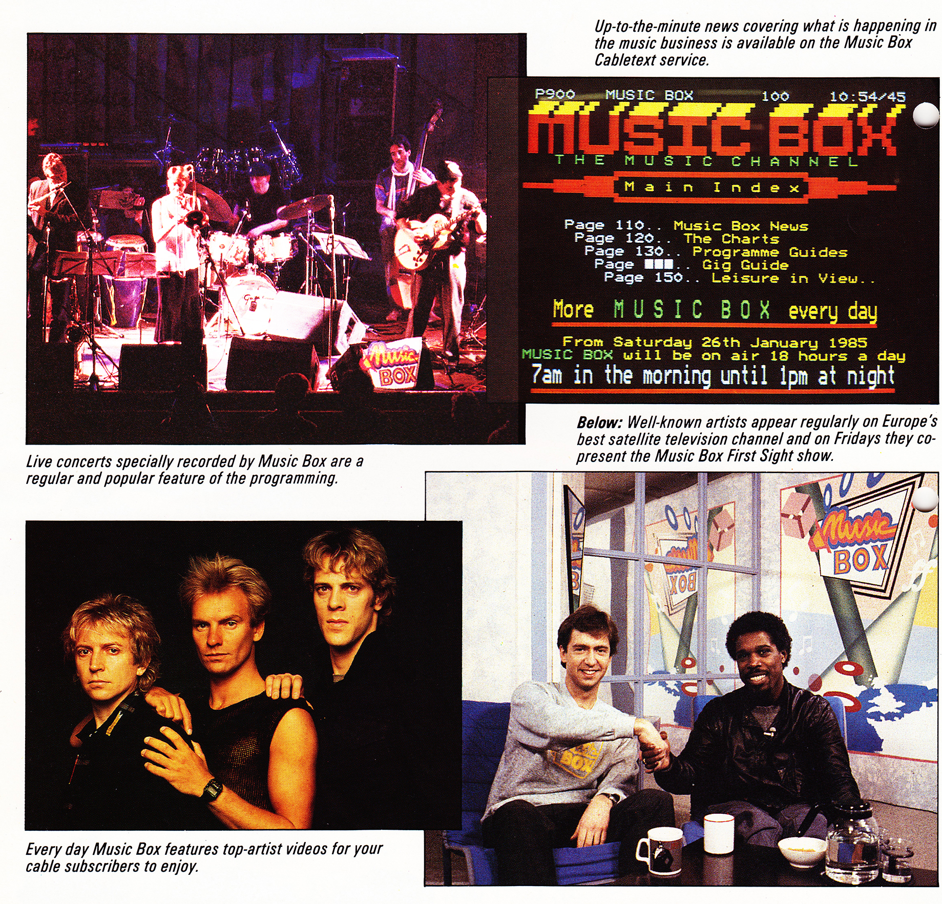 Montage of pictures showing Martin with Billy Ocean and the Police